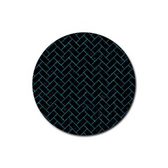 Brick2 Black Marble & Turquoise Marble Rubber Coaster (round) by trendistuff