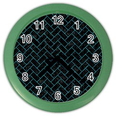 Brick2 Black Marble & Turquoise Marble Color Wall Clock by trendistuff
