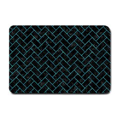Brick2 Black Marble & Turquoise Marble Small Doormat by trendistuff