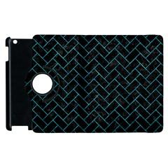 Brick2 Black Marble & Turquoise Marble Apple Ipad 3/4 Flip 360 Case by trendistuff