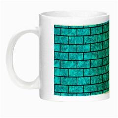 Brick1 Black Marble & Turquoise Marble (r) Night Luminous Mug by trendistuff
