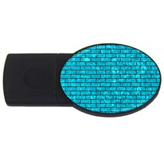 Brick1 Black Marble & Turquoise Marble (r) Usb Flash Drive Oval (4 Gb) by trendistuff