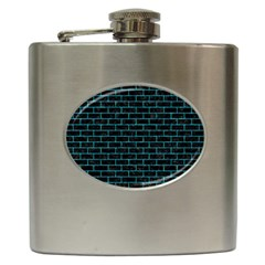Brick1 Black Marble & Turquoise Marble Hip Flask (6 Oz) by trendistuff