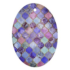 Blue Moroccan Mosaic Ornament (oval) by Brittlevirginclothing