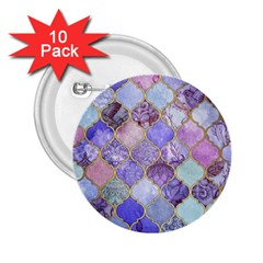 Blue Moroccan Mosaic 2 25  Buttons (10 Pack)  by Brittlevirginclothing