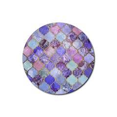Blue Moroccan Mosaic Rubber Coaster (round)  by Brittlevirginclothing