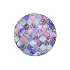 Blue Moroccan Mosaic Magnet 3  (round) by Brittlevirginclothing