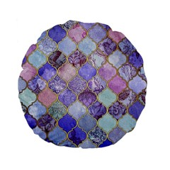 Blue Moroccan Mosaic Standard 15  Premium Flano Round Cushions by Brittlevirginclothing