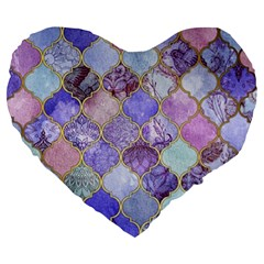 Blue Moroccan Mosaic Large 19  Premium Flano Heart Shape Cushions by Brittlevirginclothing