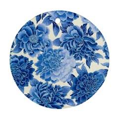 Blue Flower Ornament (round) by Brittlevirginclothing