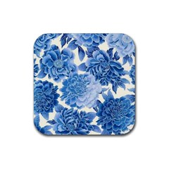 Blue Flower Rubber Square Coaster (4 Pack)  by Brittlevirginclothing