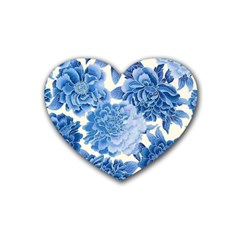 Blue Flower Heart Coaster (4 Pack)  by Brittlevirginclothing