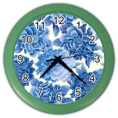 Blue Flower Color Wall Clocks by Brittlevirginclothing