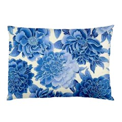 Blue Flower Pillow Case (two Sides) by Brittlevirginclothing