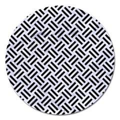 Woven2 Black Marble & White Marble (r) Magnet 5  (round) by trendistuff