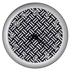 Woven2 Black Marble & White Marble Wall Clock (silver) by trendistuff