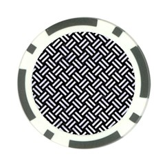 Woven2 Black Marble & White Marble Poker Chip Card Guard by trendistuff