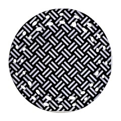 Woven2 Black Marble & White Marble Round Filigree Ornament (two Sides) by trendistuff