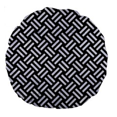 Woven2 Black Marble & White Marble Large 18  Premium Round Cushion  by trendistuff