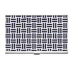 Woven1 Black Marble & White Marble (r) Business Card Holder by trendistuff