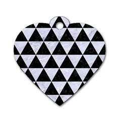 Triangle3 Black Marble & White Marble Dog Tag Heart (two Sides) by trendistuff