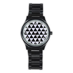 Triangle3 Black Marble & White Marble Stainless Steel Round Watch by trendistuff