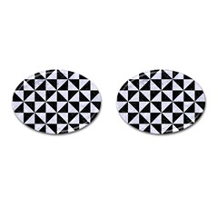 Triangle1 Black Marble & White Marble Cufflinks (oval) by trendistuff