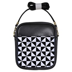 Triangle1 Black Marble & White Marble Girls Sling Bag by trendistuff
