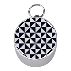 Triangle1 Black Marble & White Marble Silver Compass (mini) by trendistuff