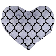 Tile1 Black Marble & White Marble (r) Large 19  Premium Flano Heart Shape Cushion by trendistuff