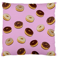 Donuts Pattern   Pink Large Flano Cushion Case (one Side) by Valentinaart