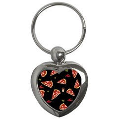 Pizza Slice Patter Key Chains (heart)  by Valentinaart