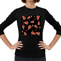 Pizza Slice Patter Women s Long Sleeve Dark T Shirts