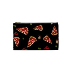Pizza Slice Patter Cosmetic Bag (small)  by Valentinaart