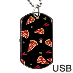 Pizza Slice Patter Dog Tag Usb Flash (two Sides) by Valentinaart