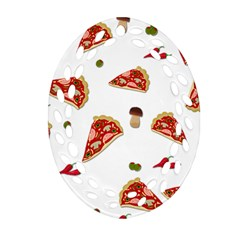 Pizza Pattern Ornament (oval Filigree) by Valentinaart