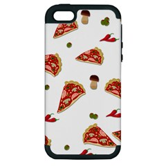 Pizza Pattern Apple Iphone 5 Hardshell Case (pc+silicone) by Valentinaart