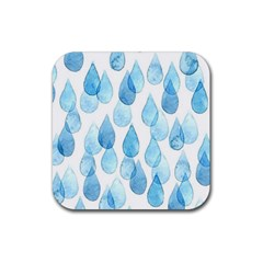 Rain Drops Rubber Coaster (square)  by Brittlevirginclothing