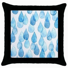 Rain Drops Throw Pillow Case (black) by Brittlevirginclothing