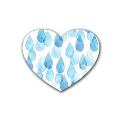 Rain Drops Rubber Coaster (heart)  by Brittlevirginclothing