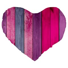 Pink Wood Large 19  Premium Heart Shape Cushions by Brittlevirginclothing