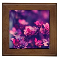 Blurry Flowers Framed Tiles by Brittlevirginclothing