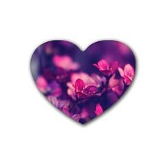 Blurry Flowers Rubber Coaster (heart)  by Brittlevirginclothing