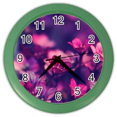 Blurry Flowers Color Wall Clocks by Brittlevirginclothing