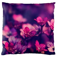 Blurry Flowers Large Cushion Case (one Side) by Brittlevirginclothing