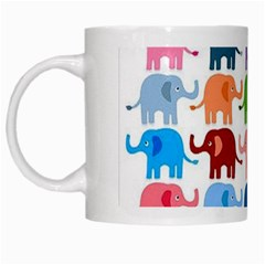 Cute Colorful Elephants White Mugs by Brittlevirginclothing