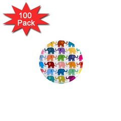 Cute Colorful Elephants 1  Mini Magnets (100 Pack)  by Brittlevirginclothing