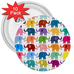 Cute Colorful Elephants 3  Buttons (10 Pack)  by Brittlevirginclothing
