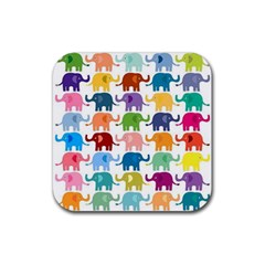 Cute Colorful Elephants Rubber Square Coaster (4 Pack)  by Brittlevirginclothing