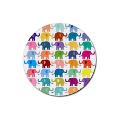 Cute Colorful Elephants Rubber Coaster (round)  by Brittlevirginclothing